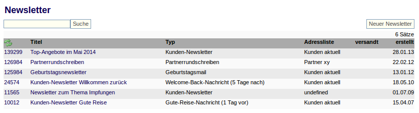 Newsletterliste
